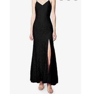 NWT Black Lace Sheath Slit Front Floor Dress